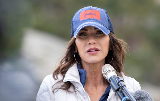 Gov. Kristi Noem speaks at Mount Rushmore on Monday, May 3, 2021, for National Travel & Tourism Week.