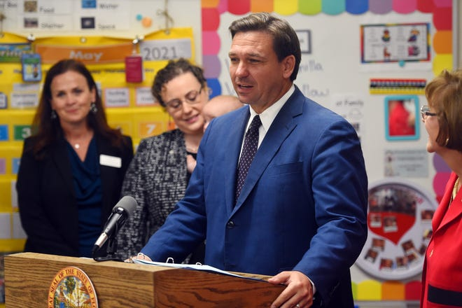 Gov. Ron DeSantis' order overriding all local rules requiring mask-wearing likely won't affect Palm Beach County much. The governor is seen here Tuesday at Childcare Resources of Indian River in Vero Beach where he signed into law two bills touted to provide a more seamless transition for students from voluntary pre-kindergarten through high school graduation.