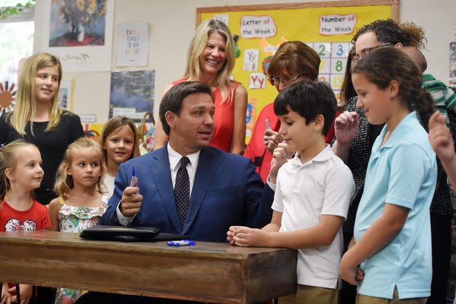 Florida Gov. Ron DeSantis made a stop in Vero Beach at Childcare Resources of Indian River in Vero Beach on Tuesday, May 4, 2021, to sign onto law two pieces of legislation that will put greater accountability on the 15-year-old voluntary pre-kindergarten program, which offers free pre-kindergarten to 4-year-old children. The bills will put the Office of Early Learning under the Florida Department of Education. The bills will provide a more seamless transition for students from VPK through high school graduation. Also in attendance were State Rep. Erin Grall and State senators Gayle Harrell and Debbie Mayfield.