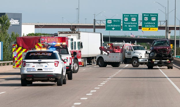 Wichita Falls emergency crews worked the scene of an accident Monday afternoon on the Lloyd Ruby Overpass.