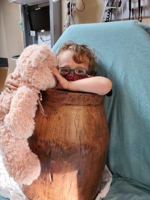 2-year-old Dorian spent hours stuck inside a wooden barrel.