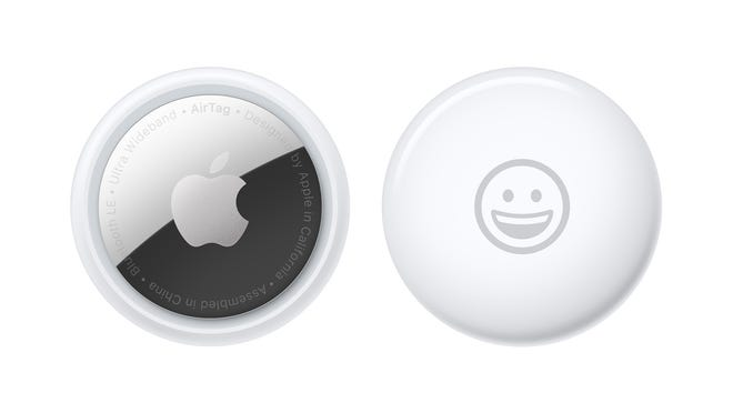 From left: The back and front of Apple's AirTag.