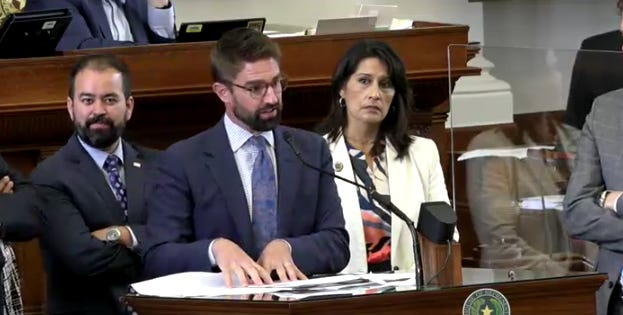 State Rep. Jeff Leach, R-Plano, center, won House approval for his HB 1340, which makes changes in Texas death penalty law concerning accomplices.