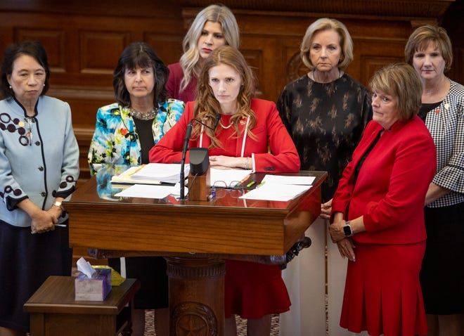 State Rep. Shelby Slawson, R-Stephenville, speaks Wednesday in support of Senate Bill 8, a proposal to outlaw abortion once a fetal heartbeat is detected.