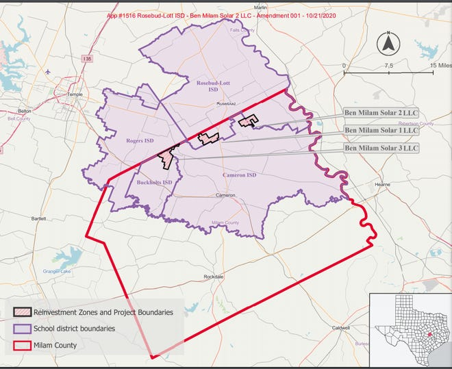 Renderings filed with the Texas comptroller show the areas where Samsung C&T, a subsidiary of Samsung Group, has negotiated tax breaks to potentially build solar energy farms in Northern Milam County.