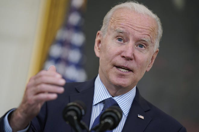 President Joe Biden speaks about the COVID-19 vaccination program at the White House, Tuesday in Washington.