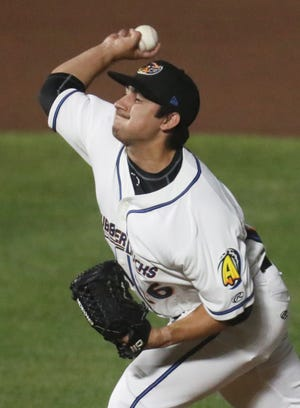 RubberDucks relief pitcher Aaron Pinto said the members of the team's bullpen rely on and help each other to be successful in whatever situation in which they are asked to pitch. [Mike Cardew/Beacon Journal]