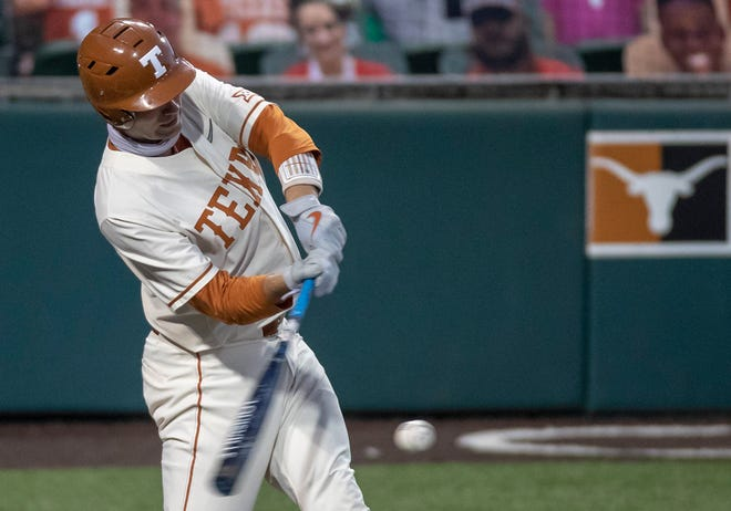 Texas first baseman Zach Zubia connects for a home run during the Longhorns' 4-1 win Tuesday at UFCU Disch-Falk Field. It broke a 1-1 tie.