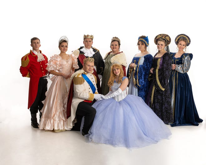 """Cast B for West Branch High School's production of """"Cinderella"""" included, back row from left, Kyle Hoopes as the Herald, Kiersten Hofman as the Fairy Godmother, Jacob Brookes as the King, Morgan Brown as the Queen, Ella Scofinsky as the Stepmother, Hannah Jones as Stepsister Joy, Maddie Davis as Stepsister Portia; and, front row from left, Cullen McKay as the Prince and Alaya Kiser as Cinderella ."""