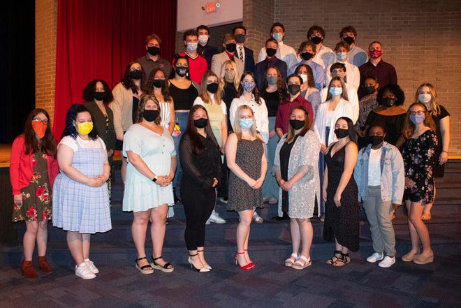 Alliance High School students who were honored for scholarships received this school year took part in a ceremony Monday at the school. Here, all student winners who attended the ceremony are pictured.
