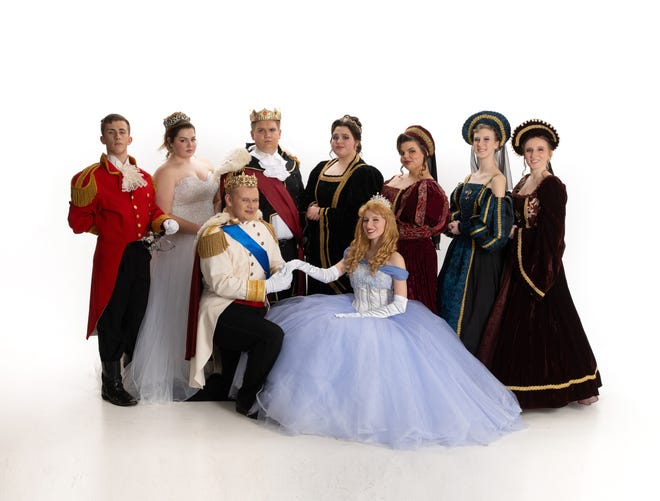"""Cast A of the West Branch High School Music Department's production of """"Cinderella"""" includes, back row from left, Kyle Hoopes as the Herald, Jillian Zamarelli as the Fairy Godmother, Jacob Brooks as the King, Julia Zamarelli as The Queen, Macey Stancato as the Stepmother, Amber Caruthers as Stepsister Joy, Danni Harrison as stepsister Portia; and, front row from left, Cullen McKay as the Prince and Gabbi Harrison as Cinderella."""