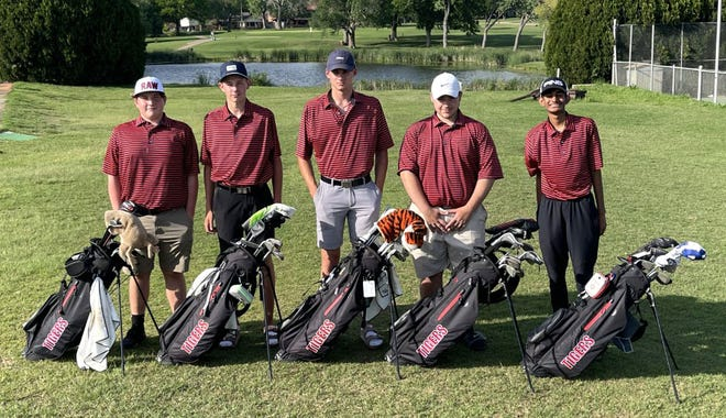 The Ardmore High School boys golf team shot 743 on Monday to finish fourth during a Class 5A Regional at Duncan Golf Course. From left, Jackson Hurt, Ramsey Ward, Ethan Moen, Mathew Sheehy and Pranav Dahya.