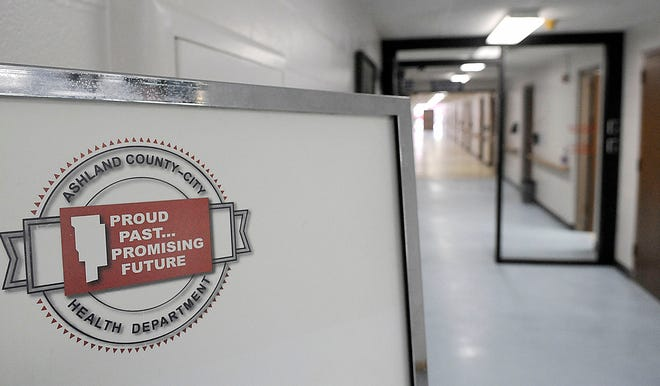 Ashland County Health Department in the Ashland County Service Center is seen here Wednesday, May 5, 2021. TOM E. PUSKAR/TIMES-GAZETTE.COM