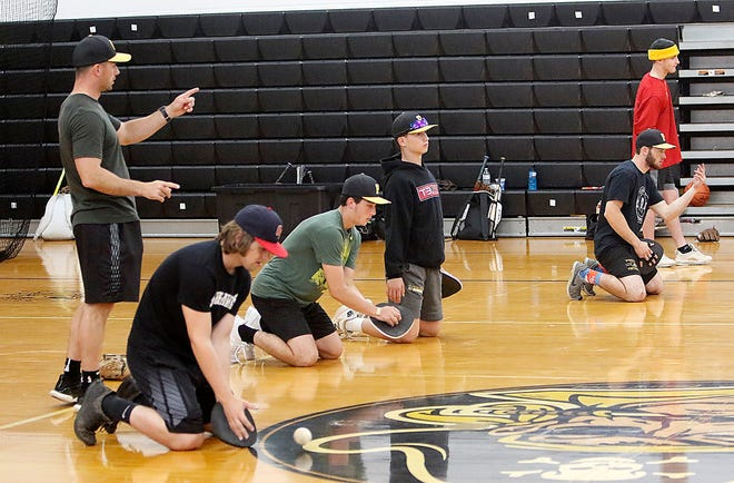 Members of Black River's baseball team go through a drill during practice Tuesday at Black River High School.