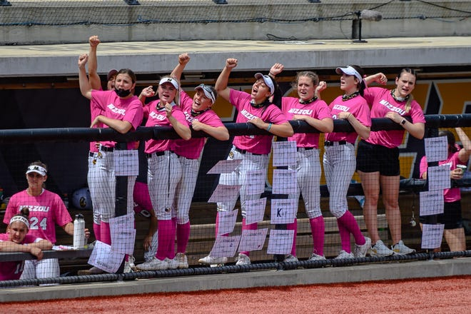 Missouri players react from the dugout during a game against Florida on Sunday at Mizzou Softball Stadium.
