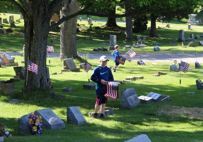 Volunteers to help place flags on the veterans' grave sites at Lakeview Cemetery are asked to meet at 9 a.m. May 27 at the Court Street entrance of the cemetery in Penn Yan.