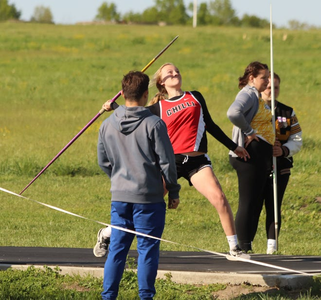Sophomore Hope Helton of Chillicothe High School's track-and-field Lady Hornets strides into her javelin throw attempt that produced an event-winning and CHS record distance of 103' during Tuesday's Midland Empire Conference Championships in Chillicothe. Helton broke Jaylynn Reeter's record by not quite two feet.
