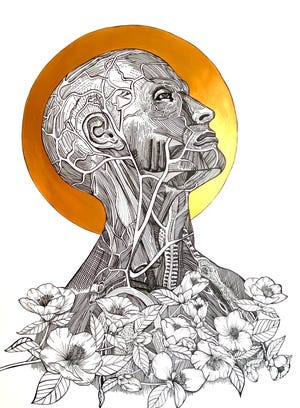 """Back in My Body,"" Micron pen and acrylic paint, by Katie Kikta"