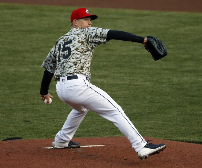 Clippers pitcher Kirk McCarty throws against Indianapolis Indians during an exhibition game on April 16. In Tuesday's season opener at Louisville, McCarty allowed two hits and two runs in five innings.