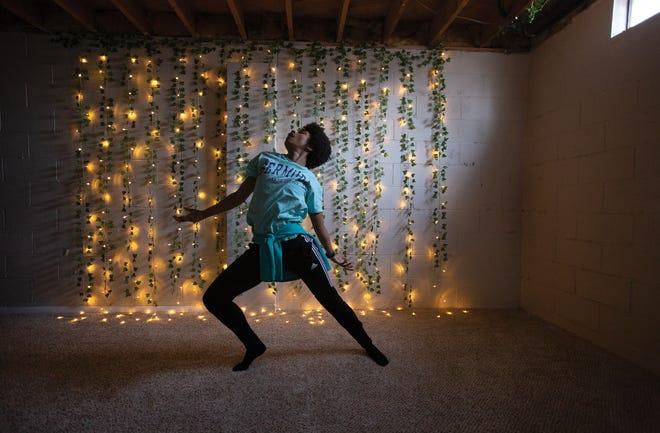 Brianna Rhodes choreographs a dance to a poem she wrote.
