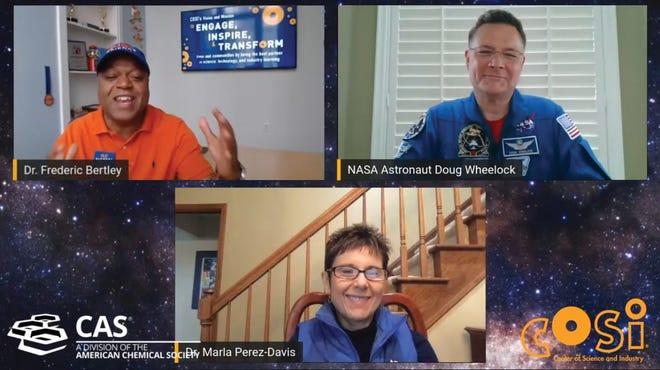 COSI President and CEO Frederic Bertley (top left) talks with NASA astronaut Doug Wheelock (top right) and Marla Perez-Davis, director of NASA's Glenn Research Center, during the virtual 2020 COSI Science Festival.