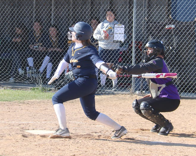 Reese Swanson singles into left field during a game against Red Lake Falls on May 4. Swanson went 8-for-10 at the plate during the Pirates' doubleheader sweep of Bagley on Tuesday.