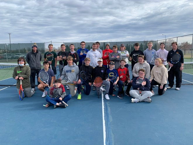 The Crookston boys' tennis team poses for a picture Friday, April 30 during their last day of practice with head coach Cody Brekken. Brekken recently was deployed with the National Guard.