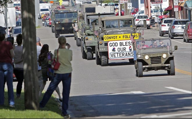 A military convoy rolls through Loudonville on Memorial Day last year.