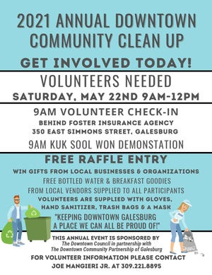 Volunteers are needed for the 2021 Annual Downtown Community Cleanup, set for 9 a.m. to noon May 22 in downtown Galesburg.