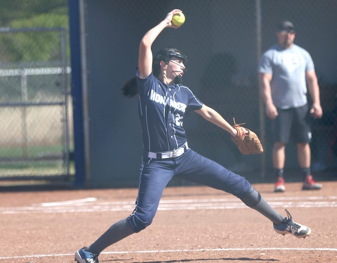 TMP's Kyleigh Allen delivers a pitch on Tuesday against Plainville/Stockton.