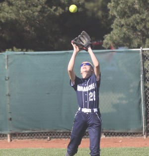 TMP's Sophie Allen catches a pop fly on Tuesday against Plainville/Stockton.
