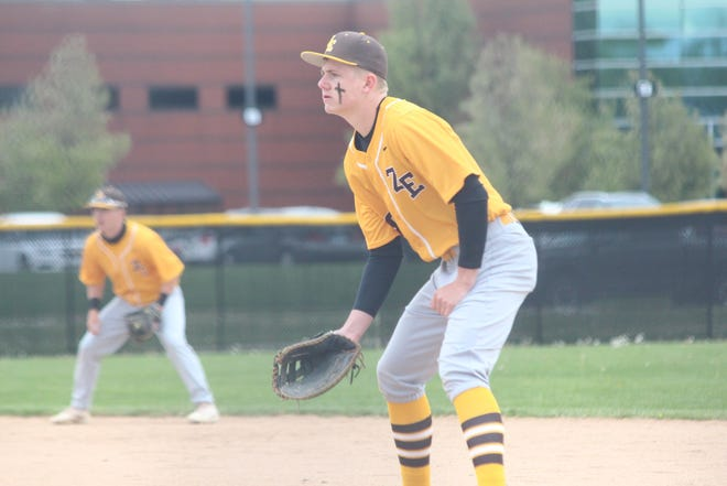 Jeff Agar gets ready for a play during their win over Zeeland West