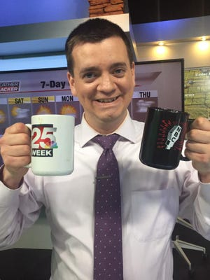 Jesse Guinn is shown during his tenure with WEEK-TV. The meteorologist is no longer with the station.