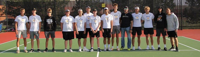 The Newton High School boys' tennis team celebrates a third-place finish Monday in the AV-CTL I championships at Maize South. Newton competes in the Class 5A regionals Saturday in Valley Center.