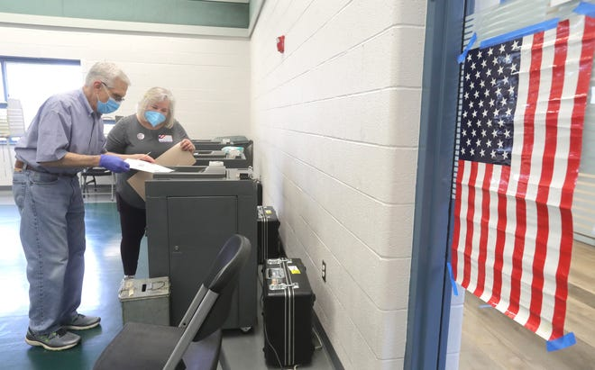 Steve Shucard gets help casting his ballot from poll worker Susie Heintzelman at the Twinsburg Community Center during the May 4 election.