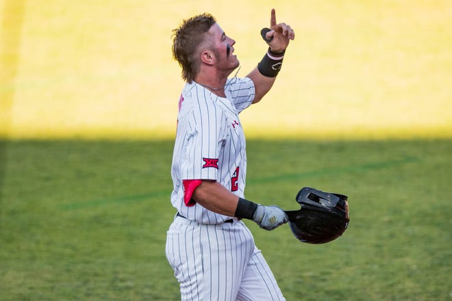 Texas Tech's Jace Jung (2) celebrates after hitting a home run against Oklahoma during the Red Dirt Rivalry game on Tuesday, May 4, 2021, at HODGETOWN in Amarillo, Texas.