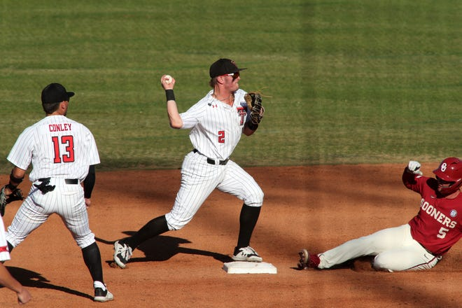 May 4, 2021; Amarillo, Texas, USA; Texas Tech Red Raiders Jace Jung (2) turns a play at second base against Oklahoma Sooners Conor McKenna (5) at HODGETOWN.   Michael C. Johnson /For A-J Media