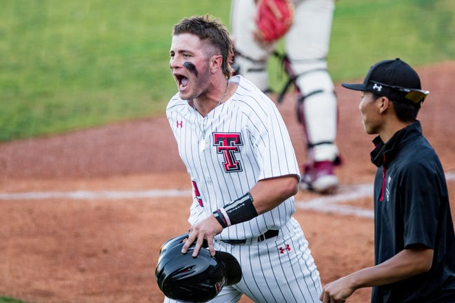 Texas Tech's Jace Jung (2) celebrates after hitting a home run against Oklahoma during the Red Dirt Rivalry game May 4 at HODGETOWN Stadium in Amarillo. Jung leads the Big 12 with 18 home runs and 62 RBI.