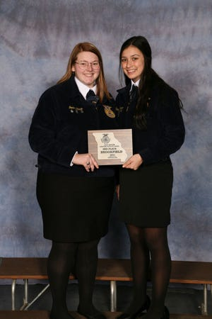 Brookfield FFA members, from left are Jenna Stark and Scarlet Polson.