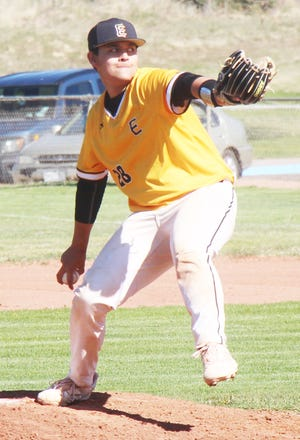 Pueblo East High School's C.J. Lucero sends a pitch to the plate in Tuesday's game at Rocky Ford. Lucero threw a no-hitter as the Eagles won 15-0.