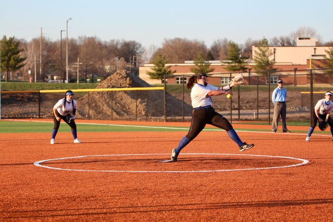 Shown is Leavenworth softball junior starting pitcher Landri Lopez. Lopez notched her 100th strikeout of the season Tuesday, needing just 68 innings pitched.