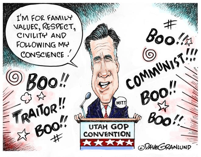 A Dave Granlund cartoon on the backlash faced by Mitt Romney
