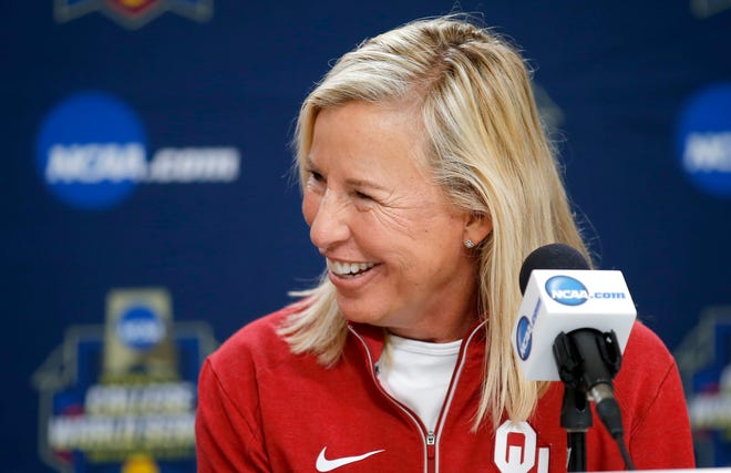 OU coach Patty Gasso watched her No. 1-ranked softball team beat No. 25 Wichita State 14-3 on Tuesday.