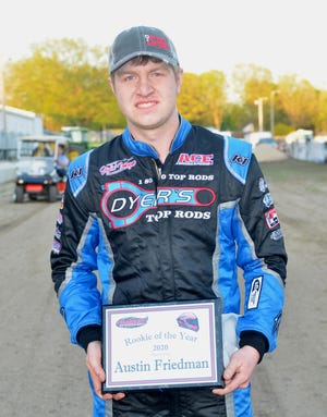 Austin Friedman of Forrest, is a second-generation driver in his first year of racing last season. He finished second in the CR Towing Sportsman point standings and scored two feature wins en route to being named Fairbury Speedway Rookie of the Year.