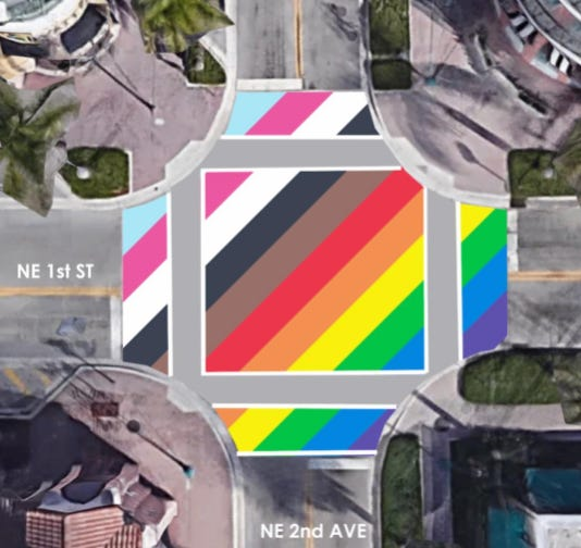 On Tuesday night, the Delray Beach City Commission presented the design for a permanent LGBTQ Pride Streetscape to be installed in the intersection of NE 2nd Avenue and NE 1st Street in Pineapple Grove.
