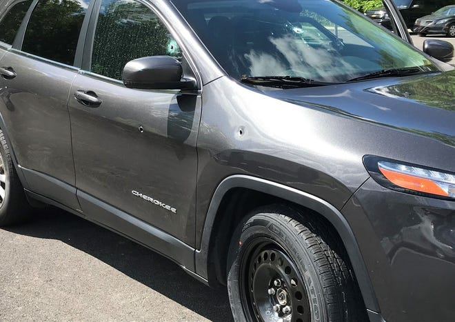 Virginia State Police released this photo of the Jeep Cherokee that was shot at on Interstate 95 northbound in Chesterfield Wednesday, May 5, 2021. A passenger was injured by broken glass, but neither she nore the driver was shot.