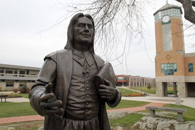 The statue of Roger Williams on the campus of Roger Williams University. The programs will be offeredweekends on RWU's Bristol and Providence campuses, both remotely and in person.