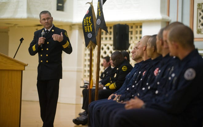 Ken Johnson, seen here in 2016 during the graduation ceremonies of the Stockton Fire Department's Regional Fire Academy, has been named Lodi's new fire chief.
