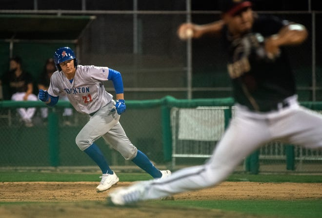 Stockton Ports' Tyler Soderstrom takes off from his lead on first during a California League baseball game against the Modesto Nuts at John Thurman Field in Modesto. CLIFFORD OTO/THE STOCKTON RECORD