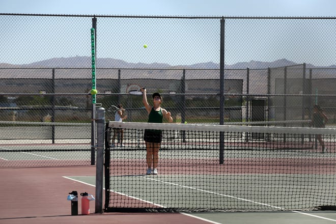 The Lady Burros' No. 1 doubles team takes on Apple Valley's No. 1 doubles team Monday afternoon. The Burroughs High School girls tennis team defeated the Sun Devils and finished 9-1 in the Mojave River League.